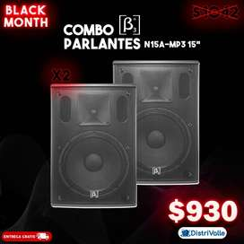 Combo (2) Parlantes Beta 3 N15A/MP3 400W RMS 15""