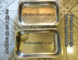 Dos bandejas acero inoxidable, ideal para negocio de comidas