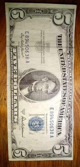 Billete de 5 dólares sello azul