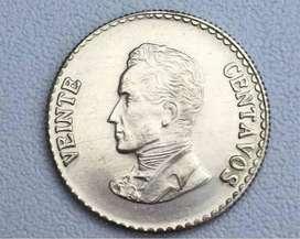 Moneda Veinte Centavos Colombia Plata 1953 Unc