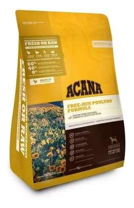 Acana Free Run Poultry 11.3Kg kg a $20.353 tambien se venden los demas sabores y los diferentes pesos porfavor preguntar