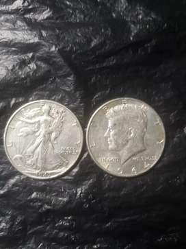 Monedas americanas de 0.50 ctvs