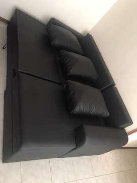 Sofa cama en L negro