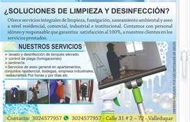 Servicios de limpieza general y Desinfección