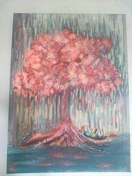 """Cuadro Al óleo, """"letras bajo el árbol"""""""