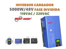 INVERSOR CARGADOR 5KW FASE DIVIDIDA 110/220VAC