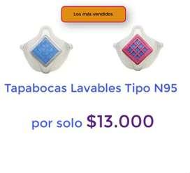 Tapabocas Lavable Tipo N95 + 30 filtros