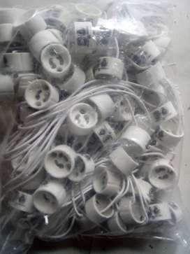 Zócalos gu10, cerámicos, cable siliconado