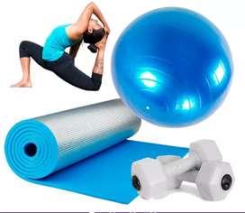 Usado, Kit yoga pilates colchoneta balón mancuernas 1kg segunda mano  Buenos Aires