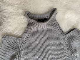 Forever 21! Pullover hombro descubierto gris nuevo