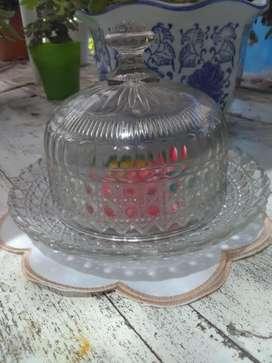 Caramelera antigua de vidrio facetado y tallado