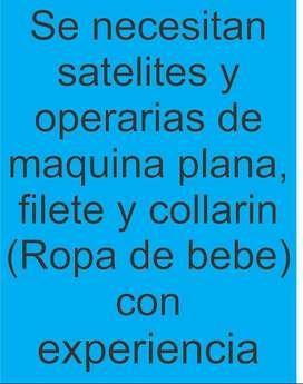 Se buscan Satelites para confeccion de ropa de bebe CON EXPERIENCIA y serios, tambien operarias que manejen todas