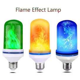 Focos Led Efecto Llama Amarilla, Azul, Verde, Roja E27 9W 62x152MM