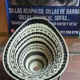 Silla Acapulco mecedora balanza en madera, tejido en diseño sombrero vueltiao,