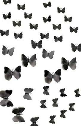 36 mariposas en relieve 3D negras