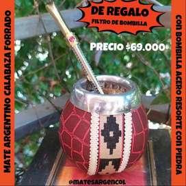 MATE ARGENTINO DE CALABAZA NATURAL FORRADO ECOCUERO c\ BOMBILLA ACERO RESORTE c\ PIEDRA y FILTRO DE REGALO!