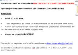 Electricista / Ayudante de electricista