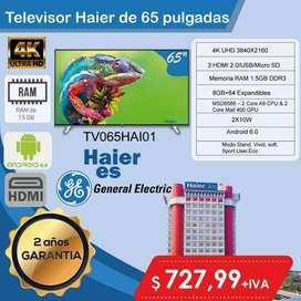 televisor smart tv de 65 pulgadas haier de general eletric 2 años de garantia