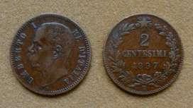 Moneda de 2 centésimos, Italia 1897