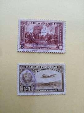 LOTE DE 2 ESTAMPILLA ANTIGUA ESTADOS UNIDOS DE VENEZUELA, CORREO AEREO, AMBAS POR $23000. USADAS, DE 15 CENTIMOS Y 25 CE