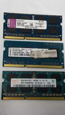 Memorias de laptop de 4 Gb..Y dos de 2 Gb..