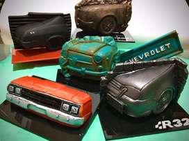 Esculturas de autos fiat chevrolet dodge vw ford
