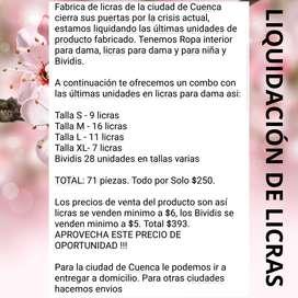 Paca de licras de dama por liquidación de fabrica en Cuenca