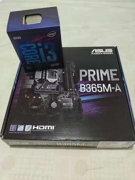 Board Asus Prime B365M-A de 9na generación & Procesador Intel Core I3 9100F.