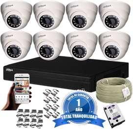 Cámaras De Seguridad Kit Cctv 720p Dahua Dvr 8 Ch + 8cámaras