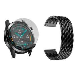 Combo Kit Correa Pulso Manilla de Metal Acero Inoxidable y Vidrio Cristal Screen Protector Para Reloj Huawei GT2 46mm