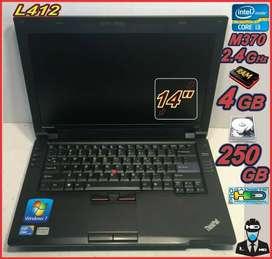 Laptop Thinkpad L412 IC3 2.4Ghz 4GB RAM 250GB OS  Win 7 Pro + MALETIN THINKPAD + 12 MESES GARANTIA TECNICA HED PRO