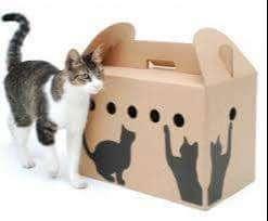 Transportadora de cartón para gatos 0