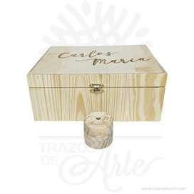 Caja con cofre en madera de pino de 24 x 18 x 10 cm – Precio COP