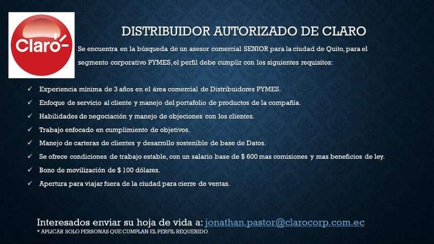 ASESOR COMERCIAL SENIOR PARA SERVICIOS DE CLARO 0