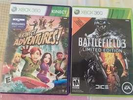 Battlefield 3 límites edition y Kinect adventures juegos de Xbox 360 como nuevos
