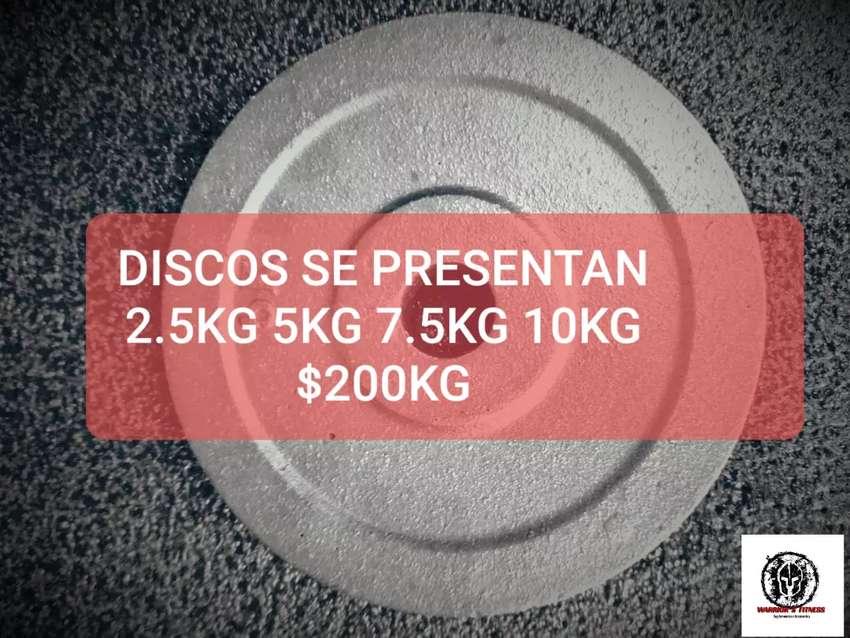 DISCOS, DISCOS C/AGARRE,MANCUERNAS,TOBILLERAS CON PESO, BARRA 0