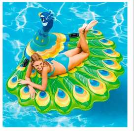 Flotador Pavo Real Grande Intex 57250 Piscina Playa 193 Cm