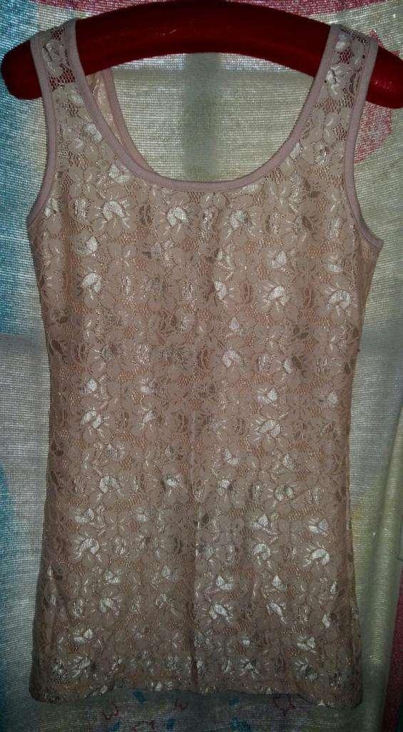 Camiseta Antigua Encaje De Seda Italiano En Rosa S/uso 0