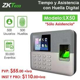 LX50 - Tiempo y Asistencia de Huella Digital - ZKTeco - Garantía 1 año.