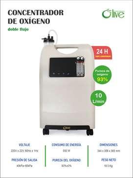 Concentrador De Oxígeno 10L Olive Doble Flujo