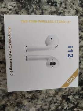 Audifonos TWS I12 Bluetooth 5.0 color negro huella dactilar nuevos