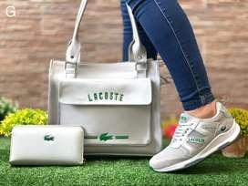 Tenis lacoste bolso y billetera para dama