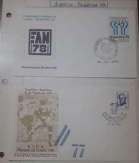 2 sobres Argentina Mudial del 78- agosto 77/ EAM 78, con estampilla Argentina mundial especial