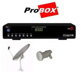 Kit Tv Satelital Fta Probox 830 pro  Antena 60cm   Lnb
