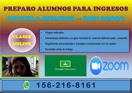 INGRESO ESCUELA SIEMENS - DON BOSCO. PREPARO ALUMNOS PARA RENDIR EL EXAMEN DE INGRESO. CLASES ONLINE