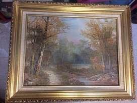 Pintura antigua de un bosque frances