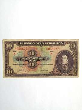 Billete 10 Pesos, 1943.