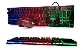 Combo Teclado Y Mouse Gamer Rgb Usb Unitec Led Multicolor