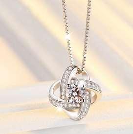 Collar Mujer Con Diamantes Infinito Perfecto Caja Regalo