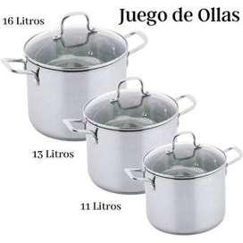 JUEGO DE OLLAS EN ACERO INOXIDABLE DE 11, 13 Y 16 LITROS